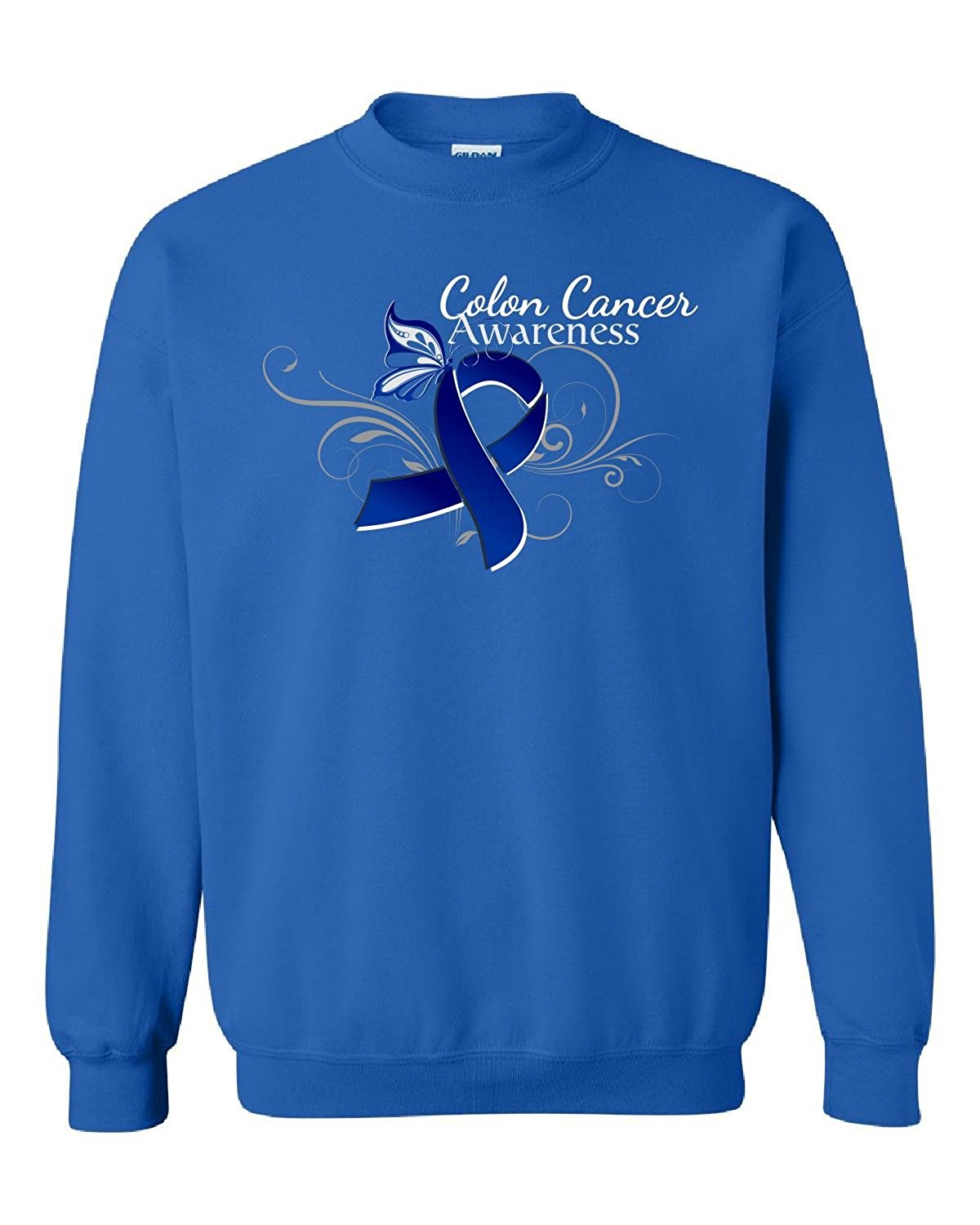 Colon Cancer Blue Awareness Ribbon With Flourish And Butterfly - Adult Sweatshirt