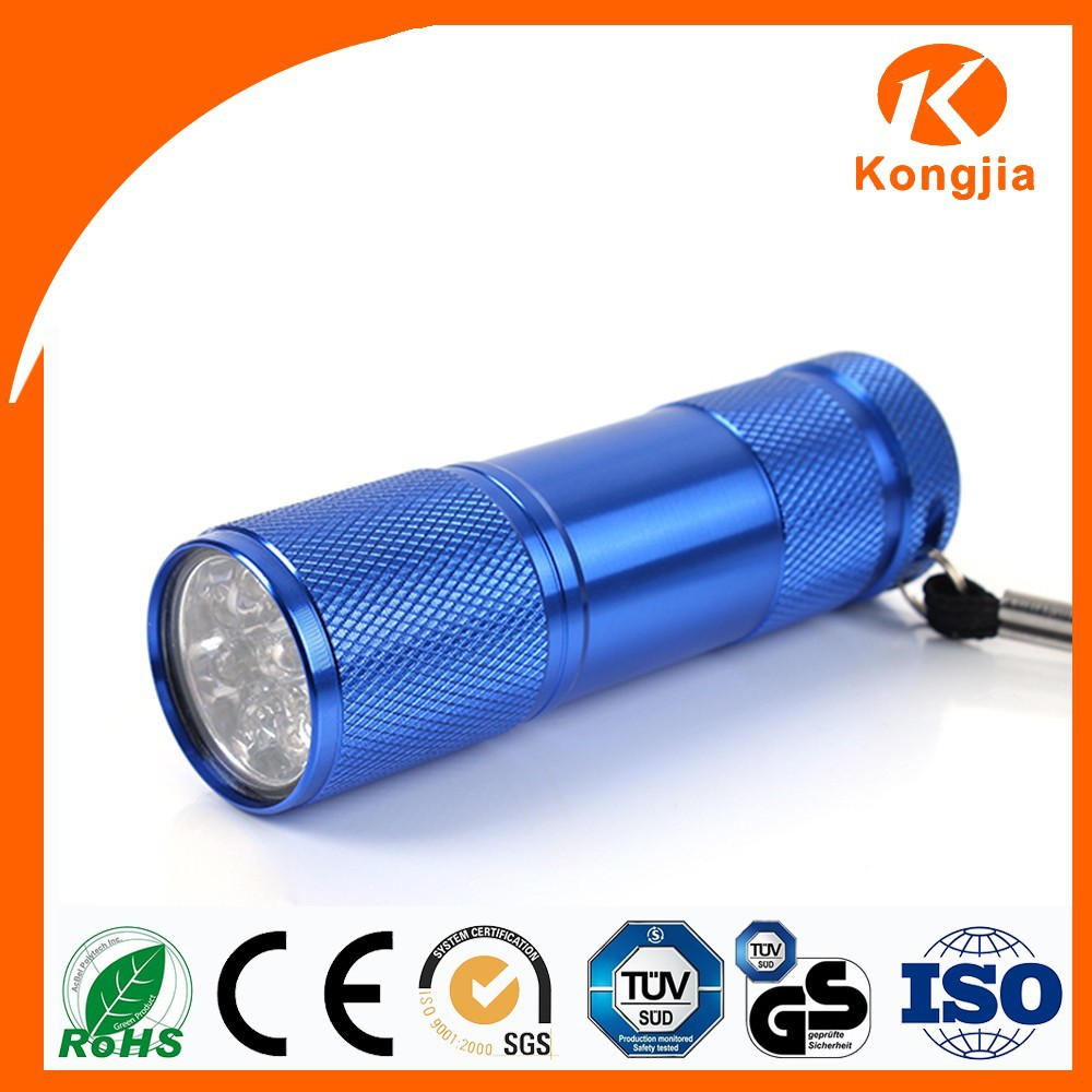 Portable UV Torch Light 9 LED Flashlight Handheld Ultraviolet Lamp with 395nm Wavelength