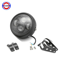 6.5 Inch Motorcycle LED Matte Black Projector Headlight W/ Bracket Cafe Racer Headlamp For Harley