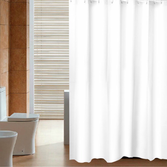 Waterproof Material Plain White Peva Shower Curtain With Plastic hooks