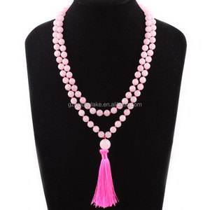 gemstone beads natural rose quartz knotted mala necklace with long tassel for prayer 108pcs 8mm