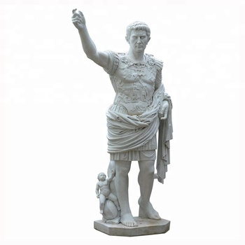 Handmade Outdoor Roman White Marble Caesar Statue for Sale