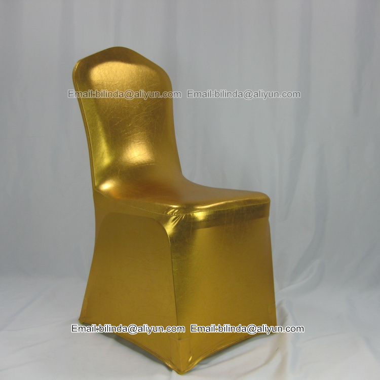 christmas Gilding spandex coating red golden spandex chair cover with reflection material
