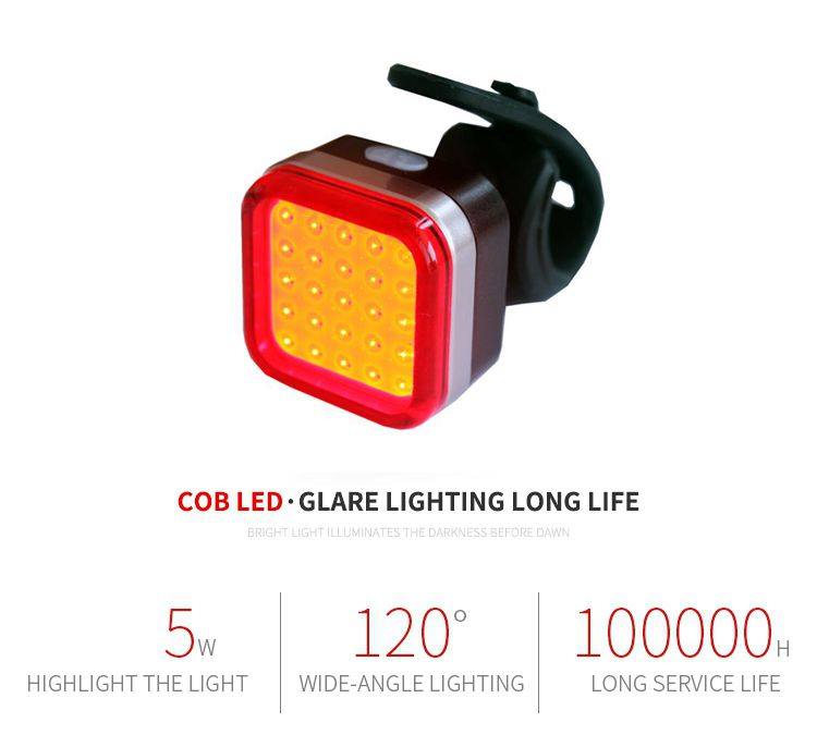 2020 New Bicycle Rear Light usb rechargeable,   Warning Red COB LED  Safety Back tail Light for bike