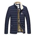 Jacket Men Winter Autumn Velvet Stand Collar Wadded Thicken Coat Mens Casual Slim Pure Outwear Parka