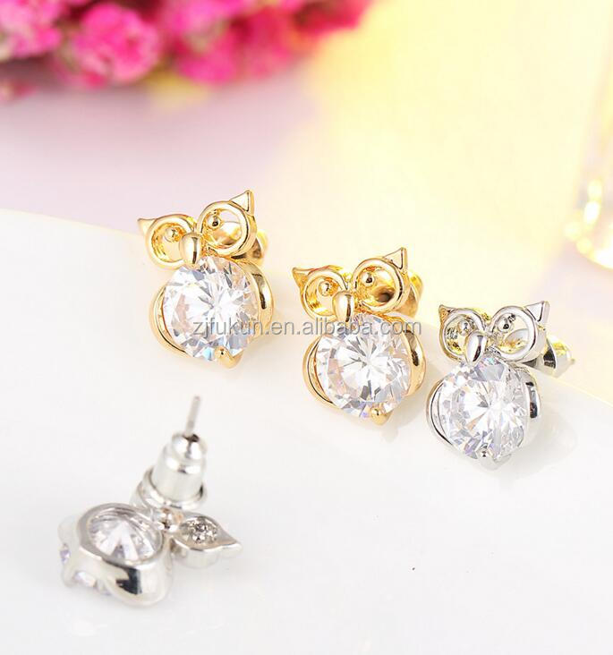 popular design alloy diamond zircon owl stud <strong>earring</strong>