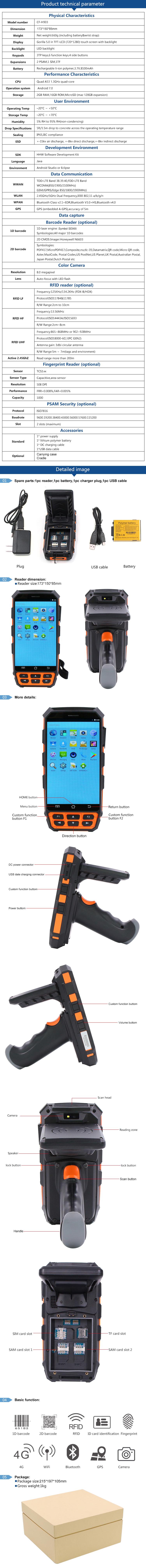 Chafon windows ce bluetooth/wifi/barcode rugged handheld rfid reader
