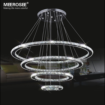Meerosee led crystal chandelier light diamond ring pendant led light meerosee led crystal chandelier light diamond ring pendant led light 3 circles led lighting md8825 mozeypictures Image collections
