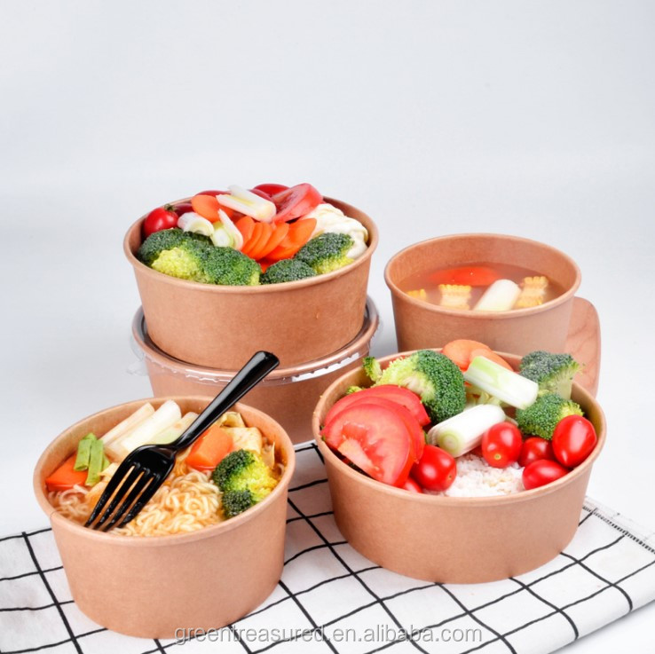 Hot sale rice paper water bowl for small size customize logo printing kraft paper bowl