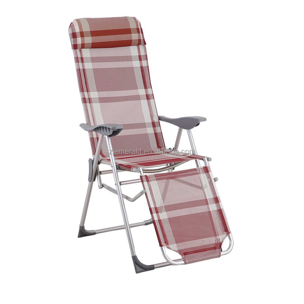 5 way aluminum folding lawn chair with footrest