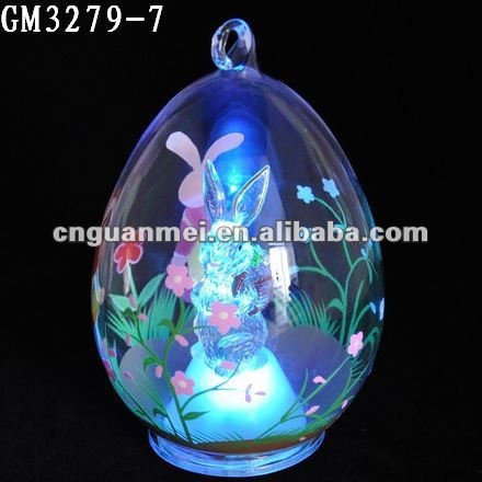 2013 hand-painting Glass easter egg with LED light and bunny inside