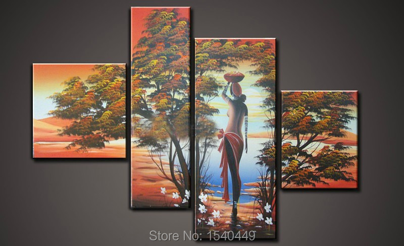 Hot Sale 100% Hand Painted Oil Painting On Canvas The Africa Beauty of Lake Modern Home Decoration 4pcs/set MD4p35
