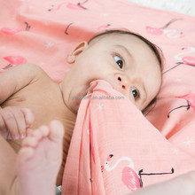 "Red flamingo 47""x 47""size 70%bamboo 30%cotton muslin swaddle 2 layers baby blankets"