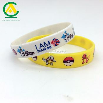 Kids Silicone Wristbands Wrist Bands Cartoon Full Color Print Bracelets