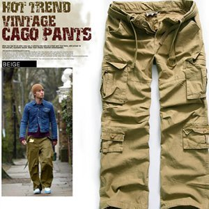 MENS VINTAGE WASHING CARGO LONG PANTS (beige) ER.CG002, View men's ...