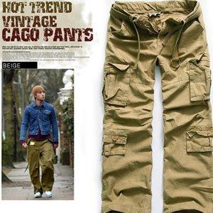 MENS VINTAGE WASHING CARGO LONG PANTS (beige) ER.CG002, View men's ...