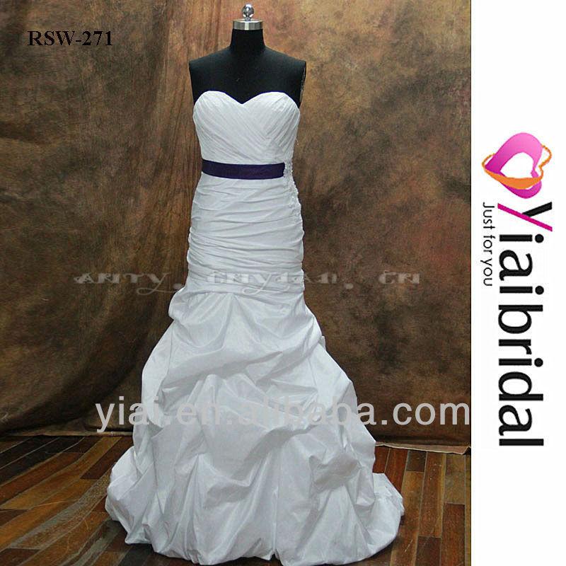 White Wedding Dress Purple Sash, White Wedding Dress Purple Sash ...