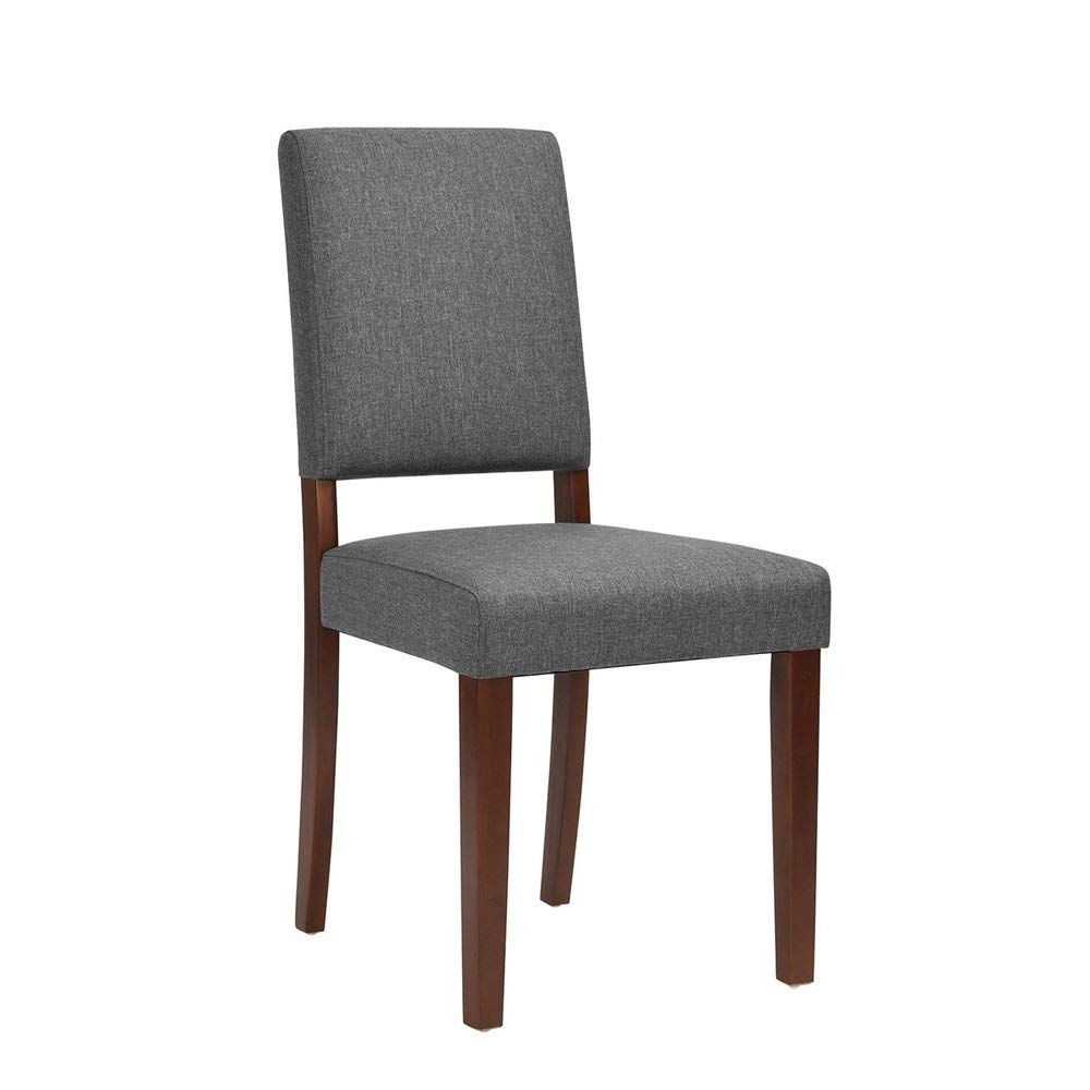 Homy Casa | Contemporary Modern Kitchen & Dining Chair | Upholstered Heather Grey Fabric Dark Stain Wooden Legs | For Home Dining Table, Restaurant, Bakery, Bar, Office, Party Seating