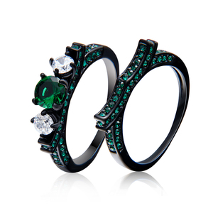 Black Color Clear Rhinestone Mosaic Wedding Engagement Band Ring For Women Stainless Steel Size Ring