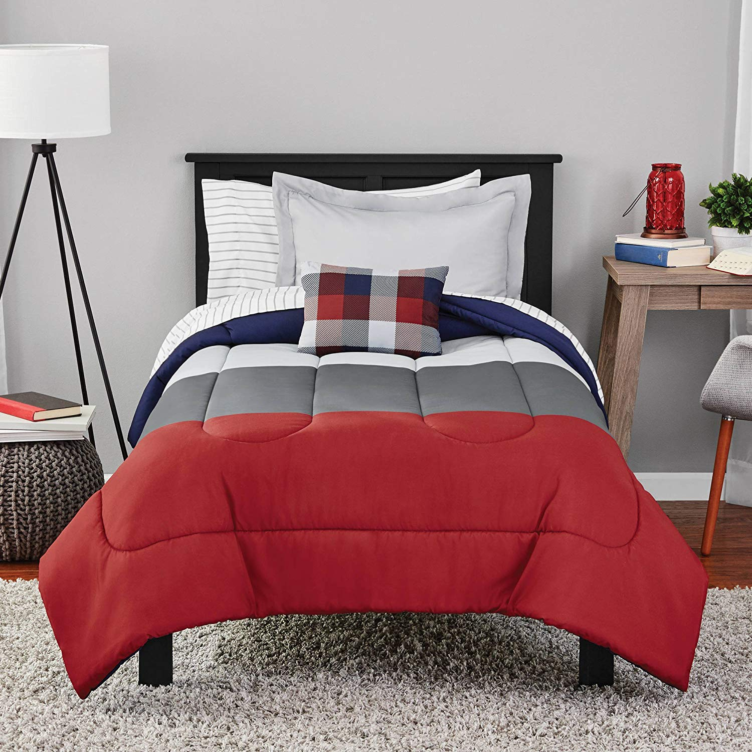 CA 8 Piece Red Grey Blue Colorblock Comforter Queen Set, Patriotic Themed Bedding Block Stripe Pattern Texan Colors USA Gray Silver Stripes Block United States America Design Plaid Pillow, Polyester
