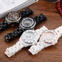 2017 Wholesale ceramic unisex watch gold casual quartz watch