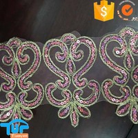 gold cording shinning pattern wholesale sequin lace pink trim