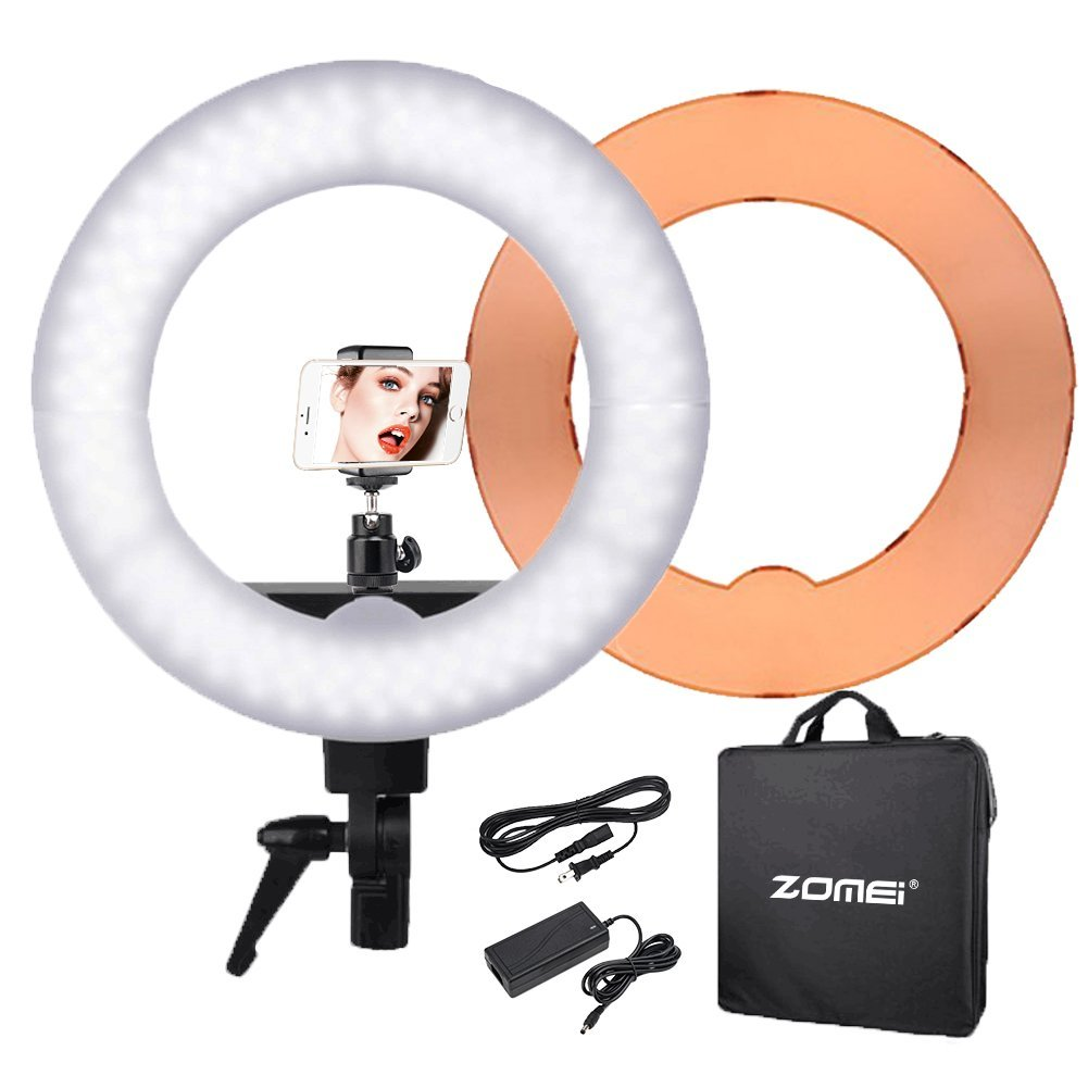 ZOMEI Camera Photo/Video Outer 240 Pieces LED SMD Ring Light 5500K Dimmable Ring Video Light With Plastic Color Filter Set, 55W