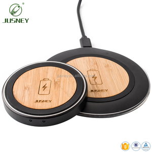 For iPhone 8 Wood Customized Logo QI Wireless Charger Pad For iPhones Fast Portable Bamboo Mobile Phone USB Type-C Port Charger