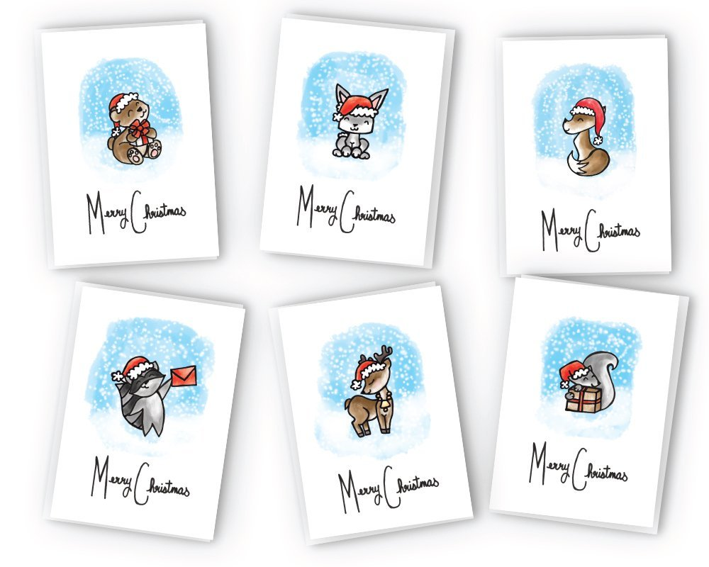 get quotations cute animals merry christmas cards collection 24 cards envelopes