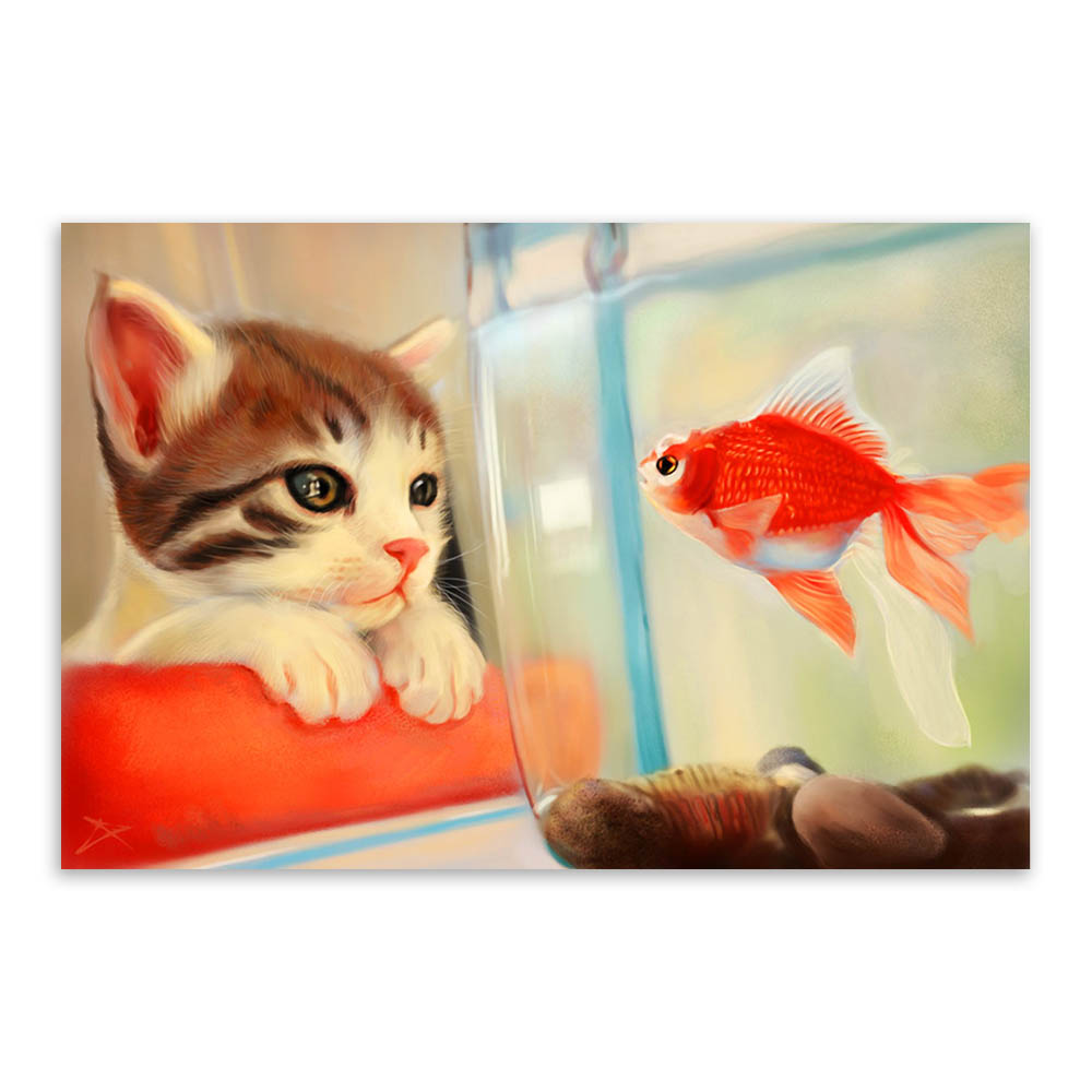 Modern Cartoon Animal Cat Goldfish Zen Photo A4 Large Art Print Poster Hipster Wall Picture Canvas Painting No Framed Home Decor