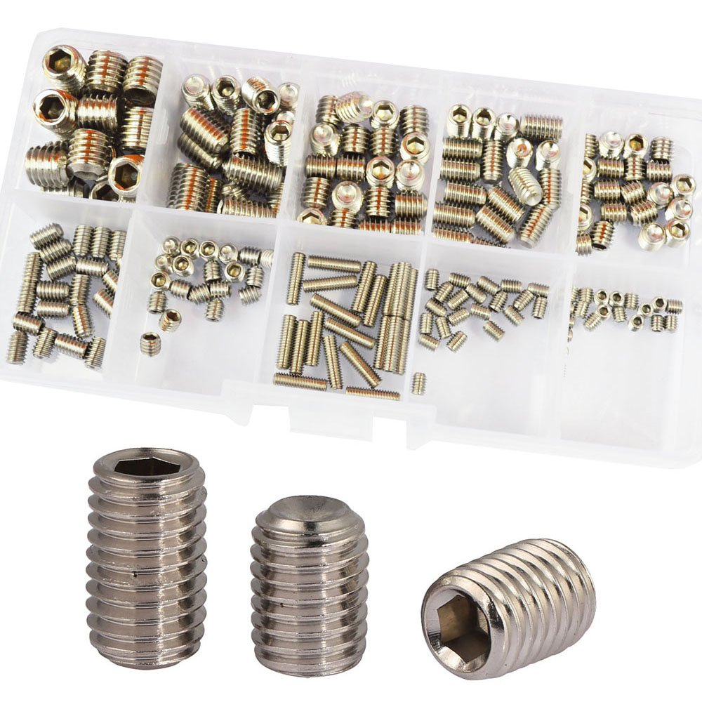 Set Grub Screw M3 M4 M5 M6 M8 Metric Hex Allen Socket Head Screw Bolt Assrotment Kit 200Pcs 304Stainless Steel