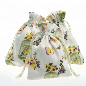 10x14cm Various Styles Recyclable Cotton Drawstring Pouch Pendants Bracelets Packing Bags