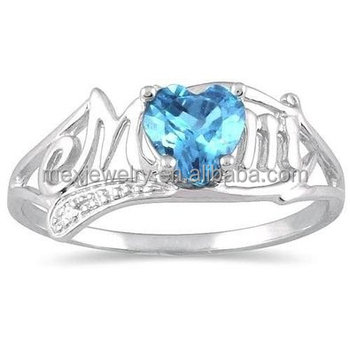 Custom made blue topaz tanzanite heart & diamond mom platinum wedding ring
