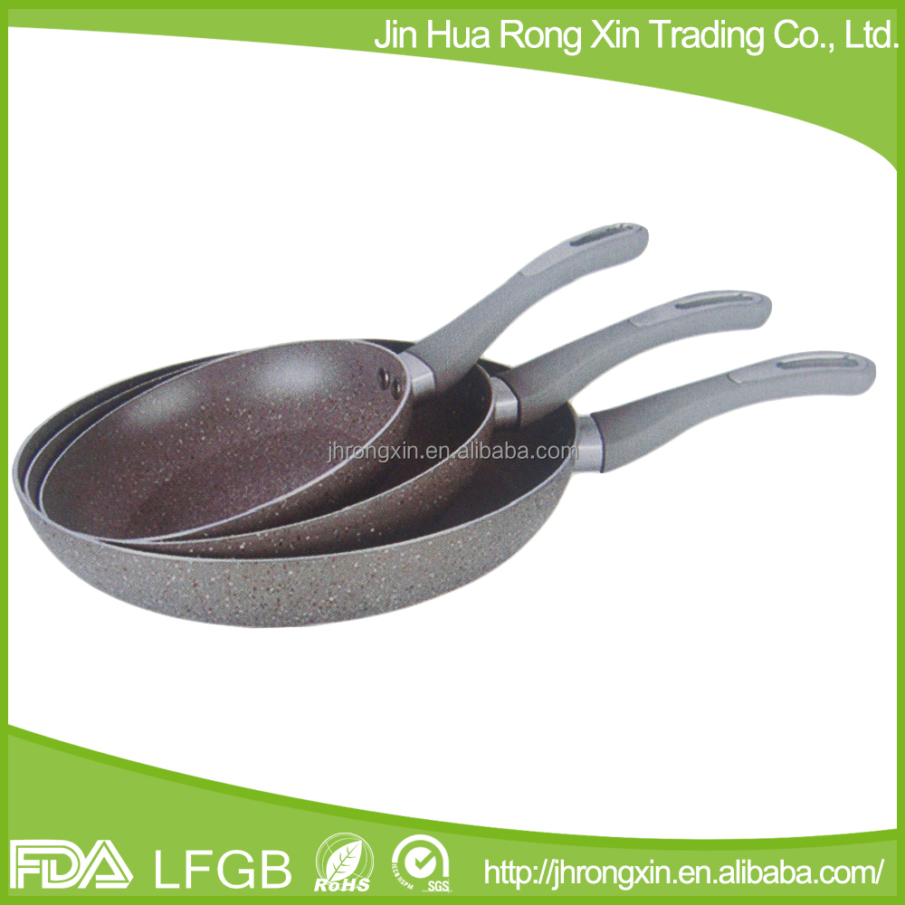 Soft touch handle granite stone fry pan