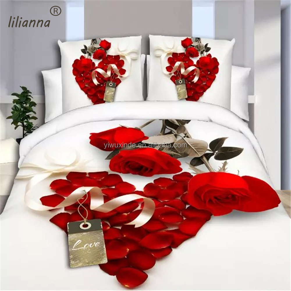 Wholesale love flower 3d bedding sets hot sale Chinese 3d bedding sets