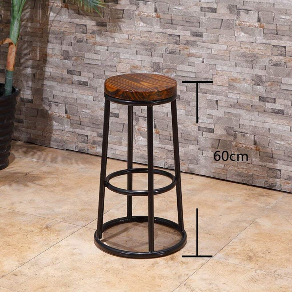 DEED Chair Stool - Bar Chair Tall Stool Bar Stool Front Desk Chair Solid Wood Retro Iron Art Simple Bar Balcony Adult Home Stool