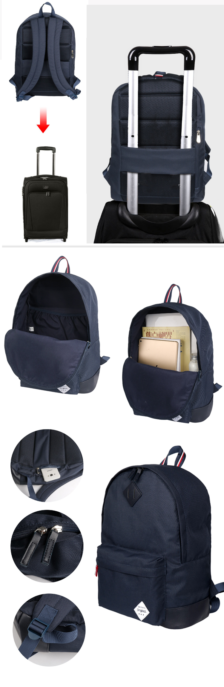 Osgoodway Mens Vintage Travel Rucksack Wholesale Custom Bags College School Backpack Bag