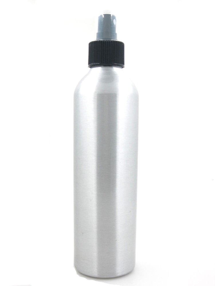 250ml sliver round metal aluminum <strong>bottle</strong> with black fine mist sprayer