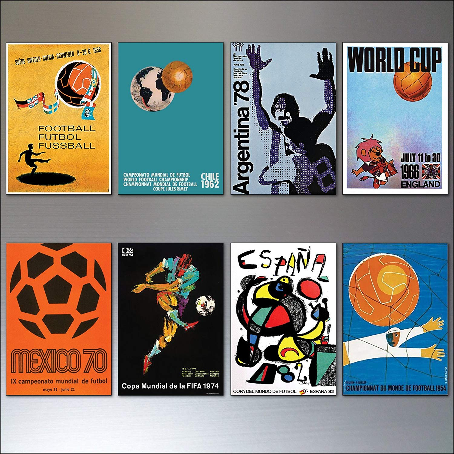 Football World Cup Posters from 1954-1982 vintage fridge magnets set of 8