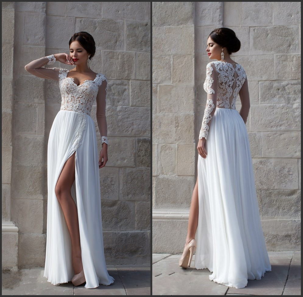 2015 sexy lace sheer long sleeve prom dresses sweetheart ...