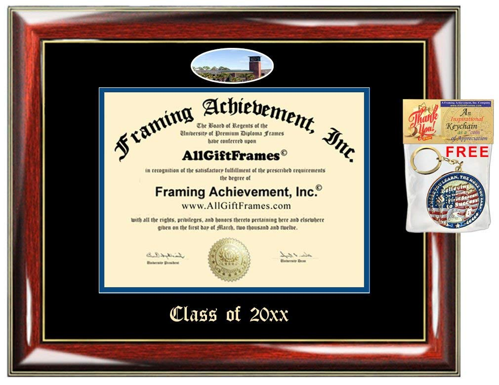 AllGiftFrames Custom Diploma Frame Florida Gulf Coast University Embossed Best Graduation FGCU Degree Frame Double Mat Campus Fisheye Picture Frame Cheap Degree Graduate Gift