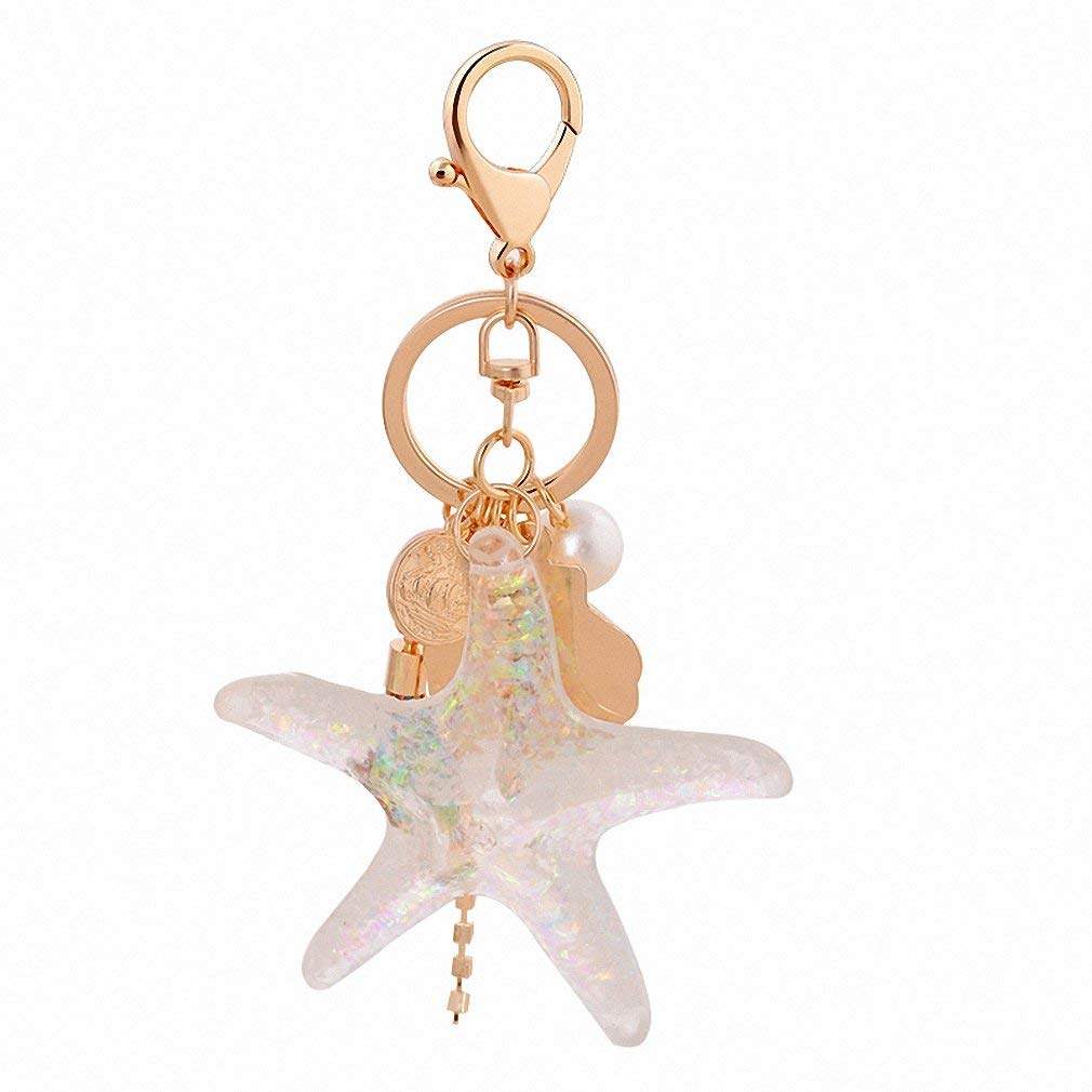 d047108857e202 Get Quotations · Womens Transparent Starfish 8cm x 8.2cm High-Grade Starfish  Shell Keychain Car Pendant Handbags