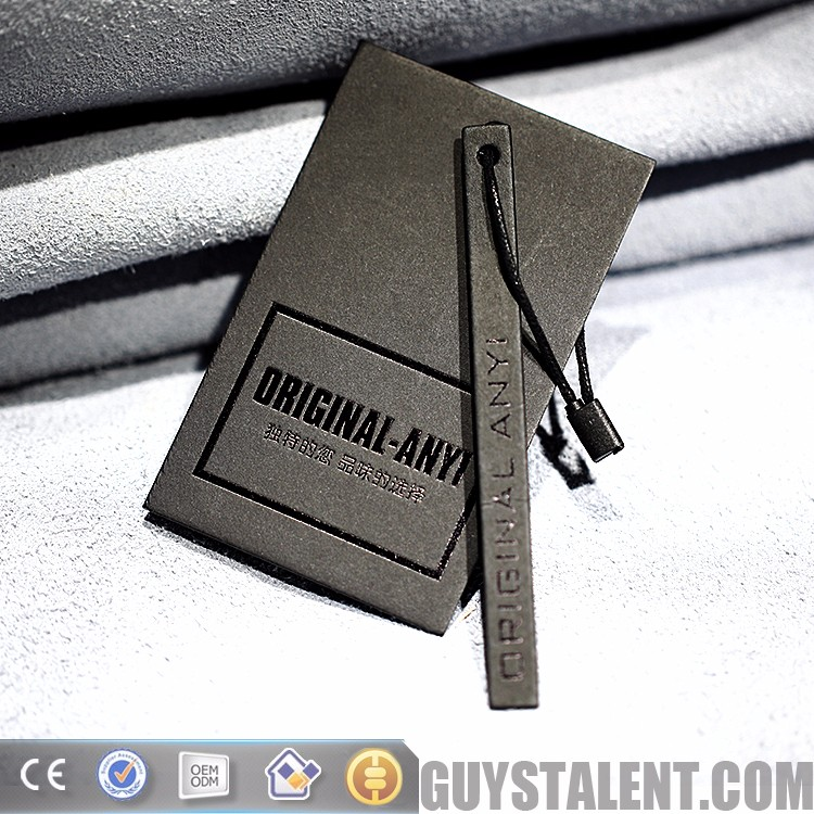 custom printed private brand hot stamping black gold clothing hang tag