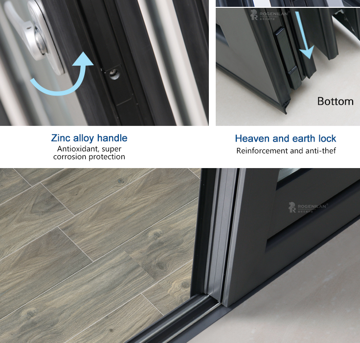 Rogenilan 75 series Germany hardware toughened glass thermal break aluminum bifold door