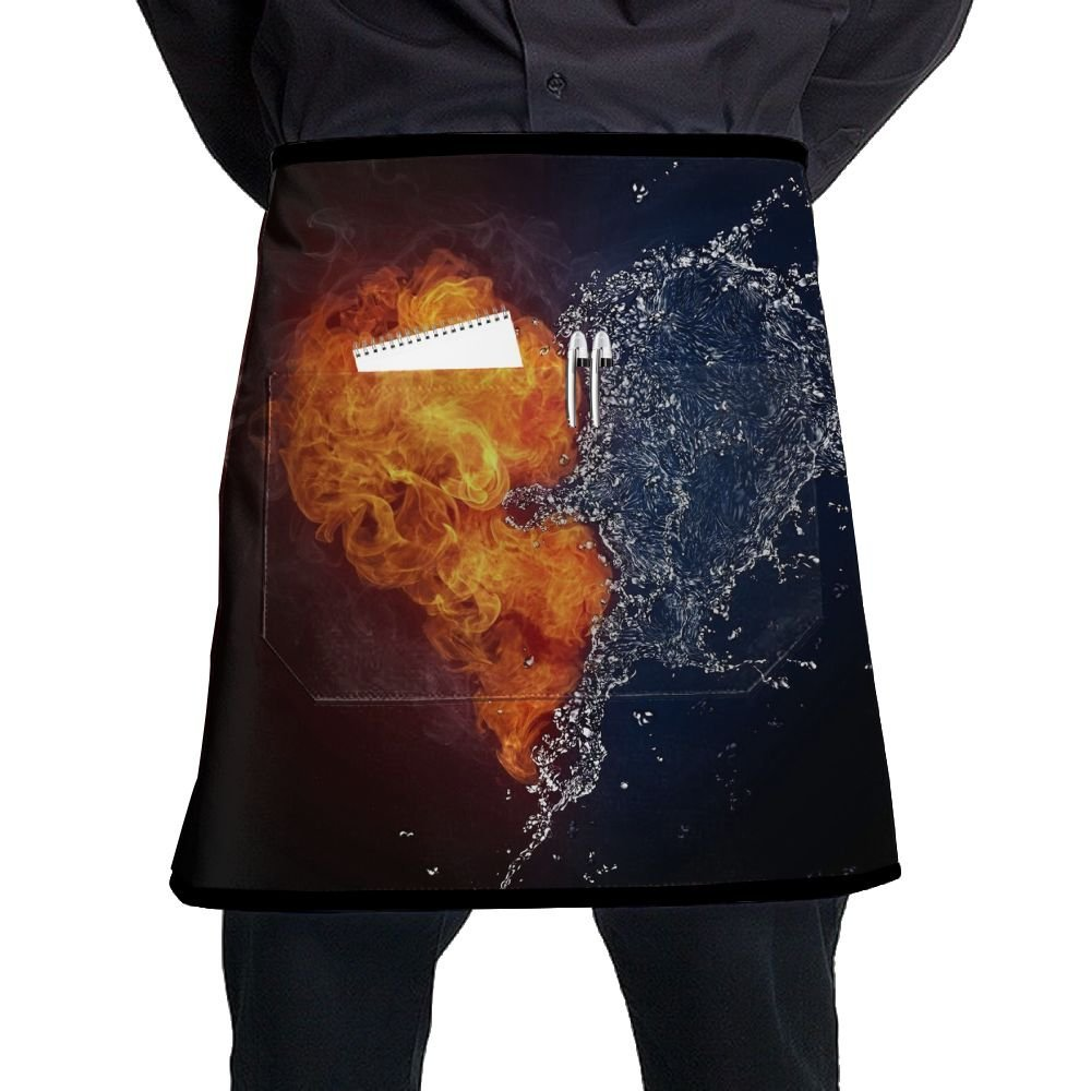 Garden Apron, Mens Stain Resistant Apron With Pocket, Chef Aprons For Women Waterproof Free Size, Kitchen Accessories, Fire And Water Love Unique Print