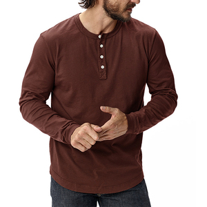 Burgundy Tri-Blend Curved Hem Henley Mens T Shirts Tight Knit Henley Neck T shirt Men Long Sleeve Distressed Wholesale