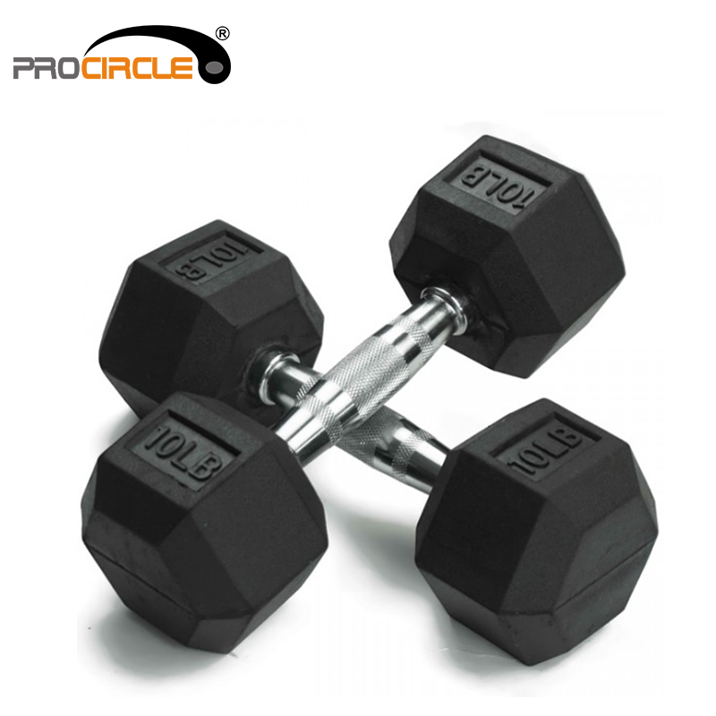 Cross Fitness Fitnessapparatuur Rubber Coated Hex Dumbbell