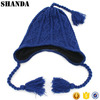 Winter warm blue kids knitted beanie cap hat with pigtail braid