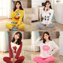 New 2015 Fashion Promotion Casual Pajama Sets Long Sleeve O-Neck Lady Cotton Sleepwear Nightwear Sleep Lounge Charater M-XL Z913