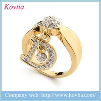 Passion Yellow Gold Jewelry Unique design Initial Dangle Ring - Letter D Rings With Austria crystal wholesale Made in YiWu